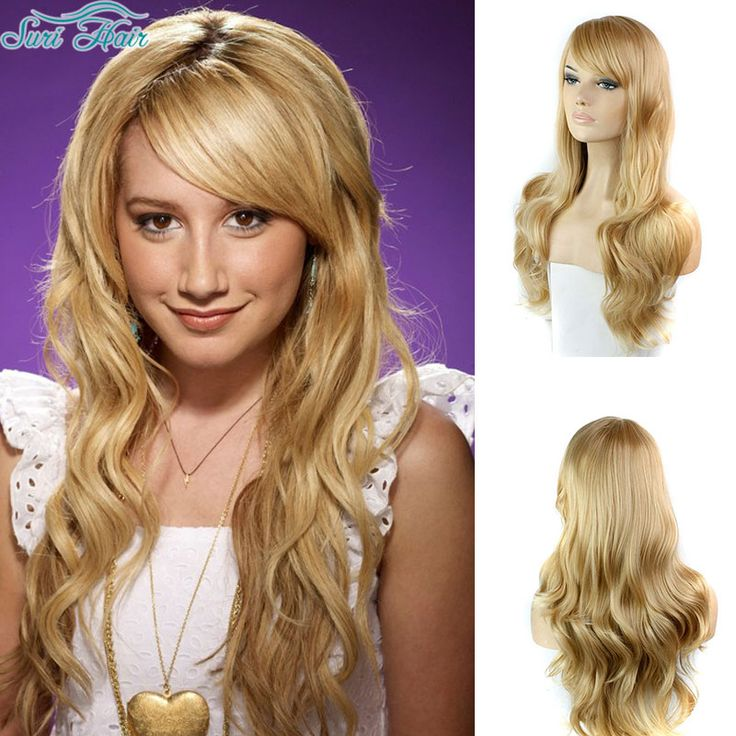 Long Blonde Wig With Bangs Cheap Afro Wig Long Wavy Synthetic Wigs For Black Women Heat Resistant Blonde Blue Wig Cosplay Peluca
