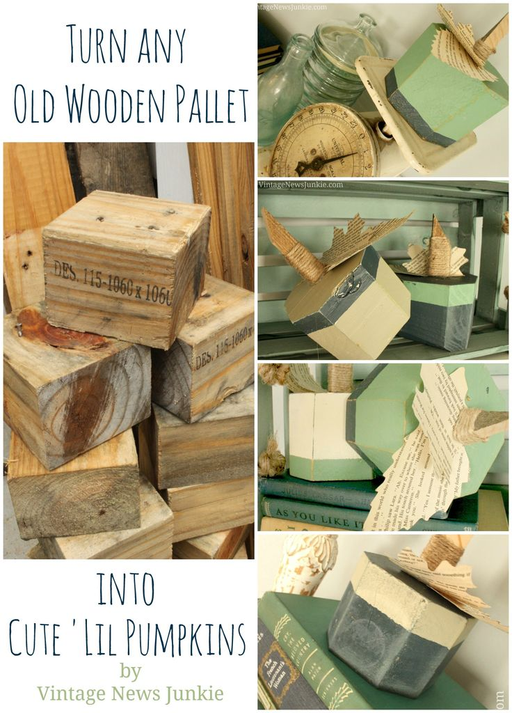 Upcycled Wood Block Pumpkins from Old Pallets by Vintage News Junkie