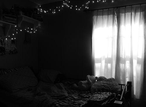 Teen Bedroom Room Black And White Tumblr Fairy Lights