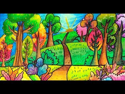Cara Mewarnai Tema Gambar Pemandangan Hutan Yang Bagus Dan Mudah Buat Pemula Gradasi Warna Part 2 Youtube Cara Menggambar Warna Pemandangan