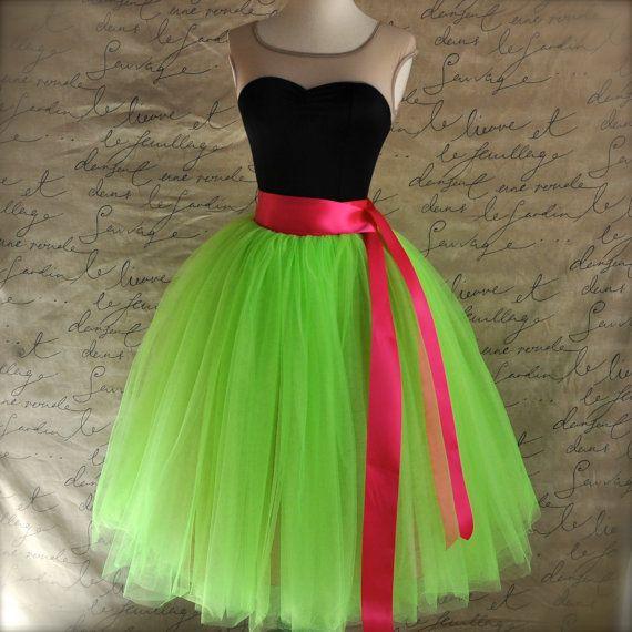 Neon lime green and raspberry pink tutu skirt for women. Ballet glamour. Retro look tulle skirt.