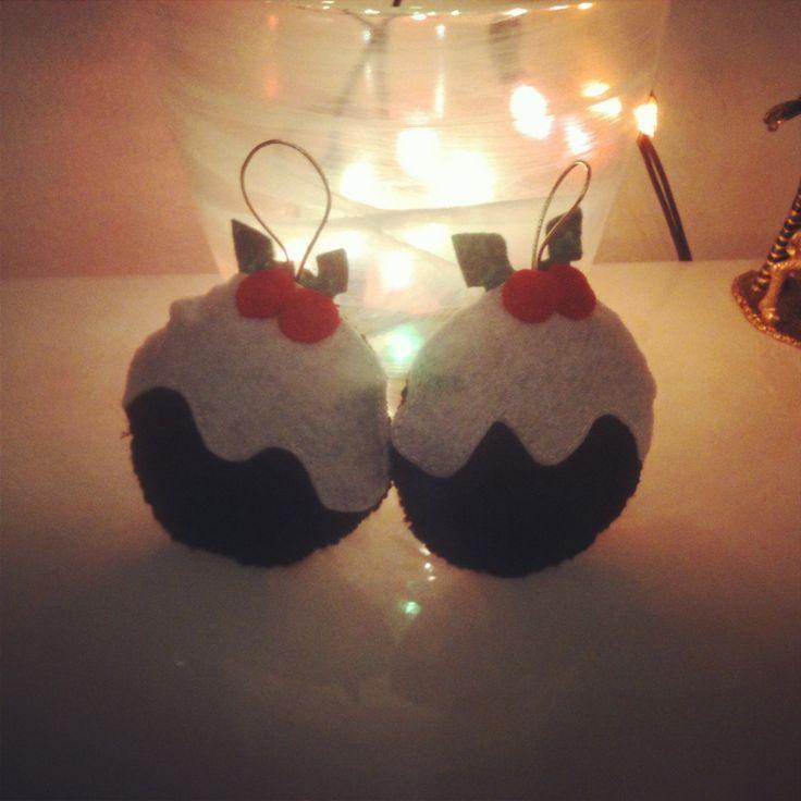 Christmas pudding decorations #handmade #felt