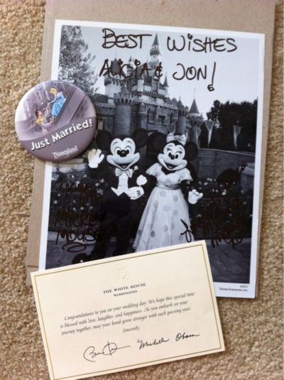 Did you know that if you send Mickey and Minnie Mouse an invitation to your wedding they'll send you back an autographed photo and a 'Just Married' button?    Here is the address:  Mickey & Minnie  The Walt Disney Company  500 South Buena Vista Street  Burbank, California 91521 // NEED TO REMEMBER THIS