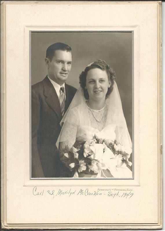 Vintage 1949 Wedding Photograph Bride Groom Pittsburg, Kansas