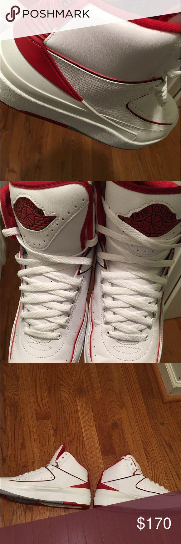 Jordan Retro 2 red/white lightly worn Jordan Retro 2 white/red Jordan Shoes Athletic Shoes