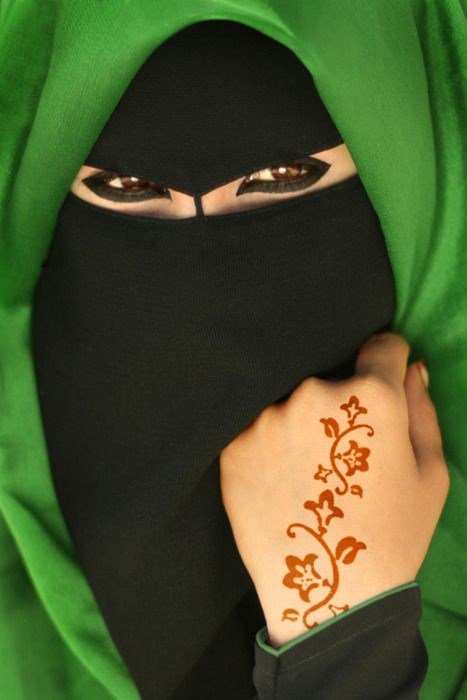 green and black niqab