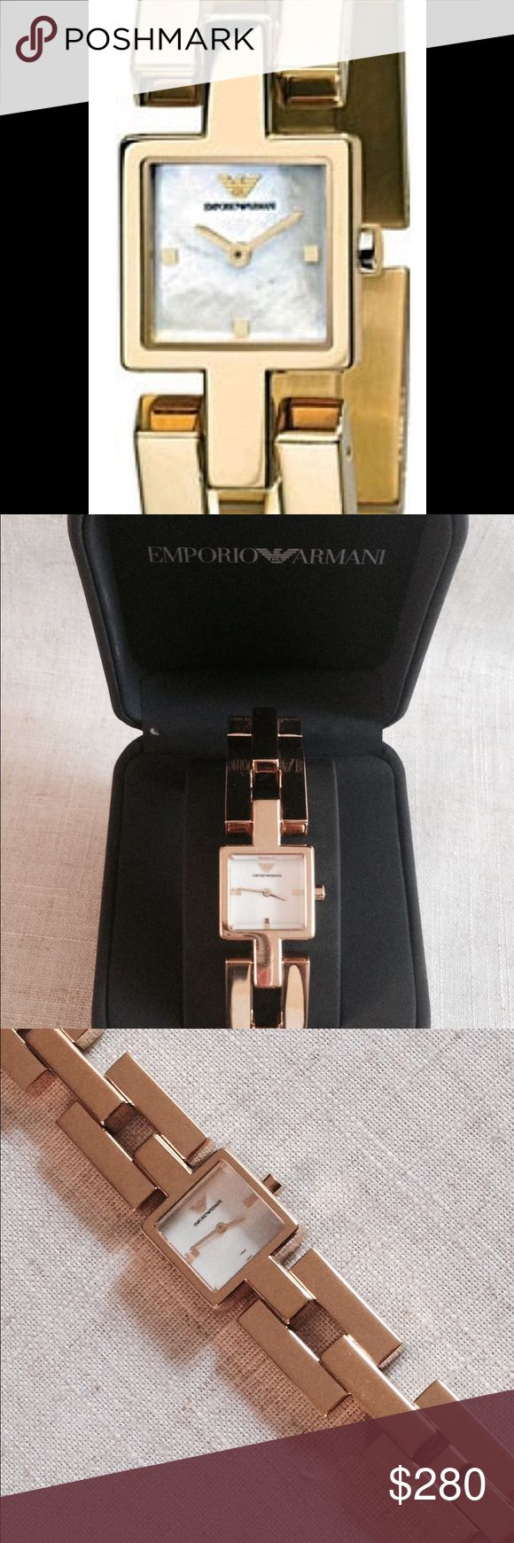 Emporio Armani Classic Gold Ladies Watch. Emporio Armani Ladies Designer Fashion watch. AR 5733  Prevision Quartz Movement, White Mother of Pearl dial accented with gold tone hands& Armani Eagle logo. 20mm x 20mm  Gold Plated Stainless Steel case. 30m water resistance.  With Armani Watch Box Emporio Armani Accessories Watches
