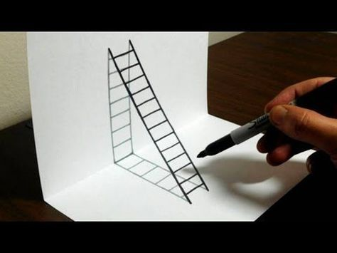 How To Draw 3d Steps Easy Trick Art Youtube Art In 2019
