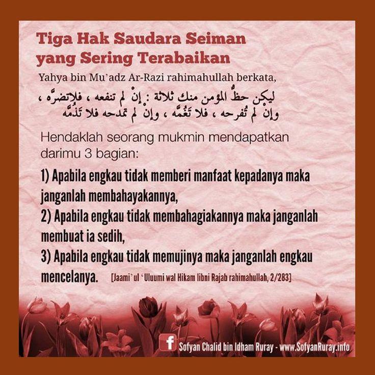 http://nasihatsahabat.com #nasihatsahabat #mutiarasunnah #motivasiIslami #petuahulama #hadist #hadits #nasihatulama #fatwaulama #akhlak #akhlaq #sunnah  #aqidah #akidah #salafiyah #Muslimah #adabIslami #DakwahSalaf # #ManhajSalaf #Alhaq #Kajiansalaf  #dakwahsunnah #Islam #ahlussunnah  #sunnah #tauhid #dakwahtauhid #alquran #kajiansunnah #Tigahak #3Hak #SaudaraSeiman #Seringterabaikan