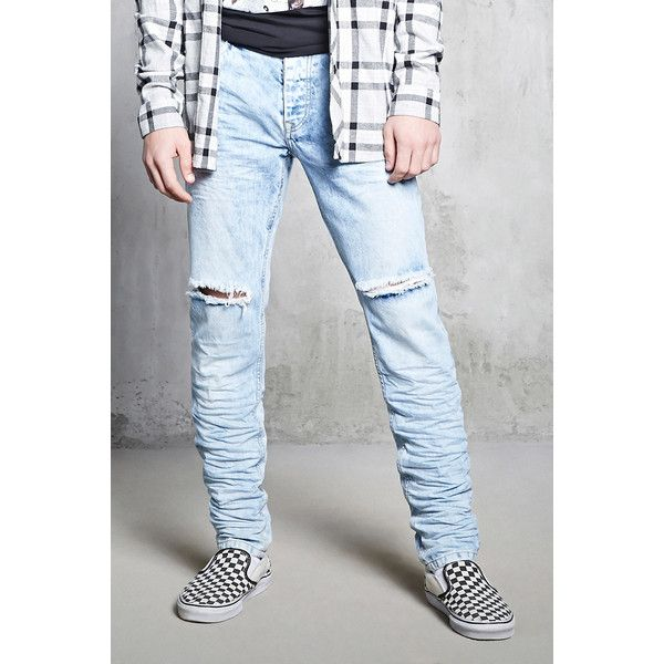 Forever21 Acid Wash Slim-Fit Jeans (€30) ❤ liked on Polyvore featuring men's fashion, men's clothing, men's jeans, light denim, mens button fly jeans, mens acid wash jeans, mens torn jeans, mens ripped jeans and mens slim fit ripped jeans