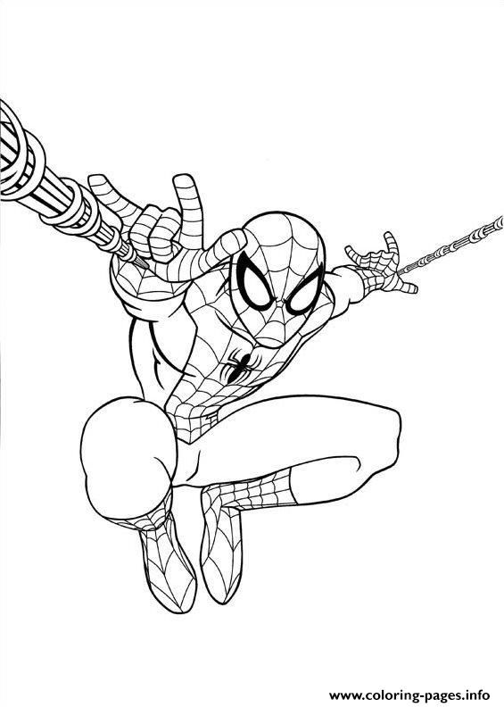 Print Ultimate Spiderman Jump Coloring Pages Spiderman Coloring