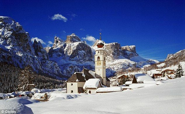 Village and parish church towards Sella mountain, Alta Badia in italy {dream xmas location!}