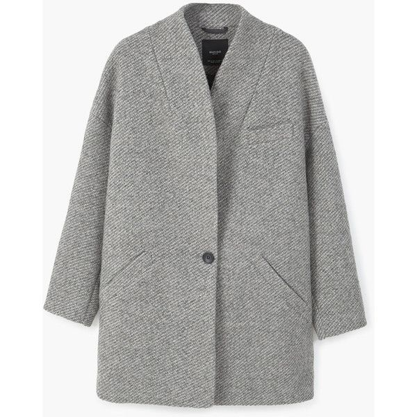 MANGO Cocoon Wool-Blend Coat (38.210 HUF) ❤ liked on Polyvore featuring outerwear, coats, cocoon coat, wool blend coat, mango coat, fur-lined coats and long sleeve coat