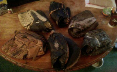 Lot-of-6-Used-baseball-gloves-Nike-Mizuno-Rawlings-Easton-Louisville-Slugger