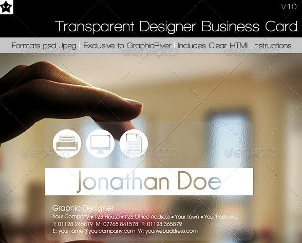 Desain Kartu Nama Perusahaan - Transparent Designer Business Card