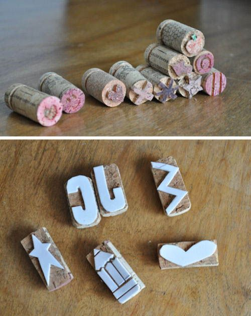 Cork Stamps (what a great way to use corks instead of throwing them out)