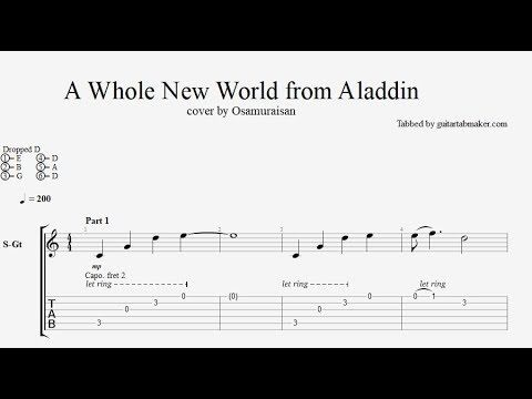 A Whole New World fingerstyle guitar tabs - pdf guitar sheet music download - guitar pro tab video