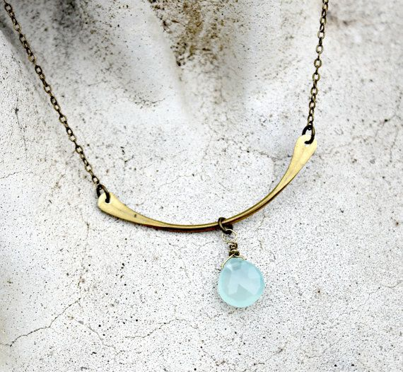 Hammered Brass Bar Necklace by LunarBelle - #chalcedony #gemstone #rustic #minimalitst