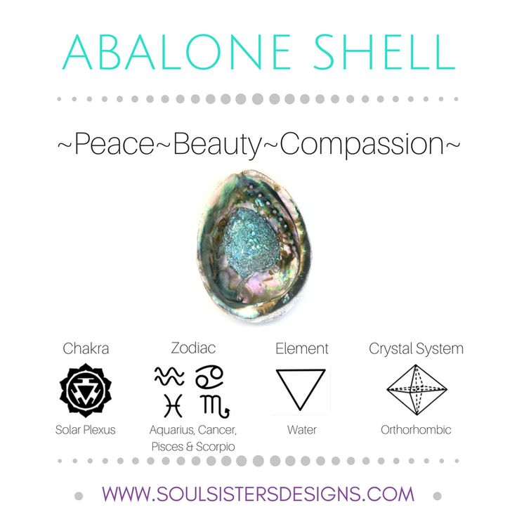 Metaphysical Healing Properties of Abalone Shell, including associated Chakra, Zodiac and Element, along with Crystal System/Lattice to assist you in setting up a Crystal Grid. Go to https:/soulsistersdesigns.com to learn more!