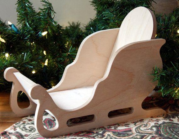 Trineo Mini Claus de Santa trineo de madera trineo Decor