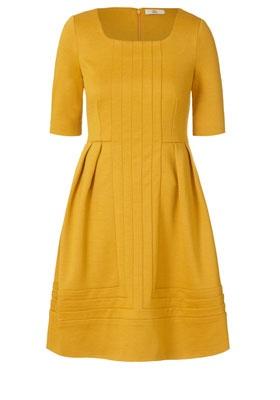Wool Jersey Panel Dress Mustard