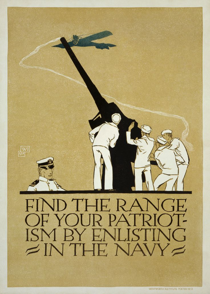Find_the_range_of_your_patriotism United States Navy recruitment poster by Vojtěch Preissig, 1918