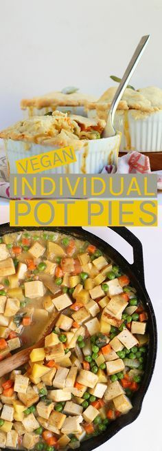 Individual vegan pot pies filled with savory tofu and seasonal vegetables and he…