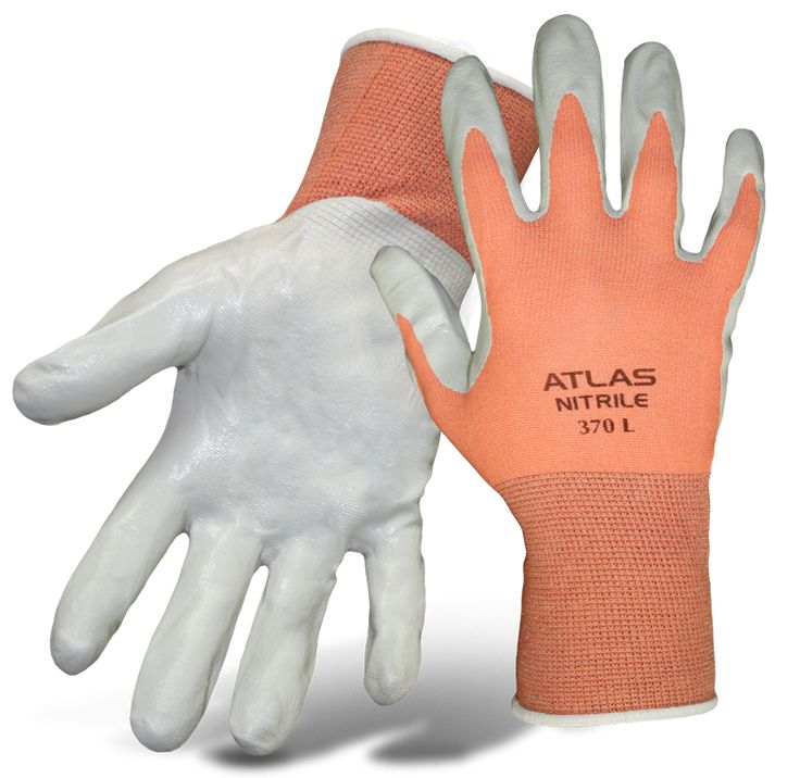 Atlas Fit® Ladiesu0027 Nylon Knit Nitrile Palm. Gardening GlovesProduct ...