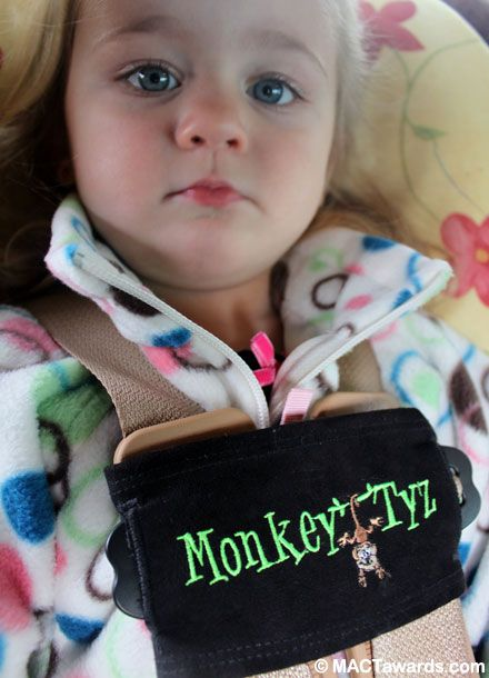 Monkey Tyz puts a stop to the unbuckling of chest clips on car seats. For all those Toddlers who try to get out of their carseats. #charlottepediatricclinic