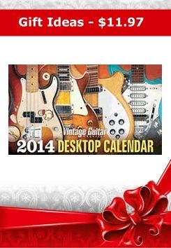 Here is a great gift idea! The 2014 Vintage Guitar Magazine Desktop Calendar features seven guitars featured on recordings by mega-stars plus six vintage all-time classics. This will look great on your desk! Order today for $11.97