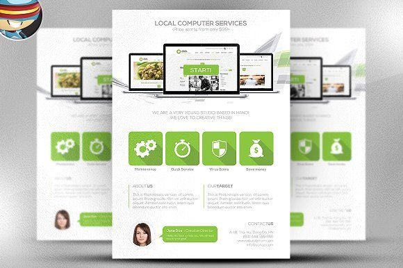Flat Style Computer Services Flyer by FlyerHeroes on @creativemarket