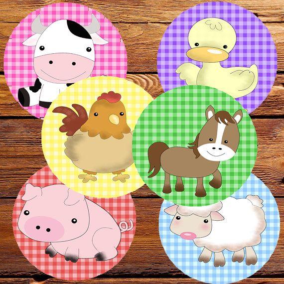 TOPPERS ANIMALES de la Granja Cupcakes por ImprimiblesCucos en Etsy