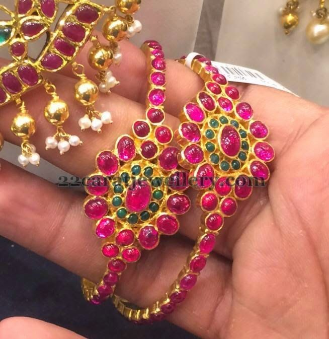 Jewellery Designs: 50 Grams Ruby Bangle Pair