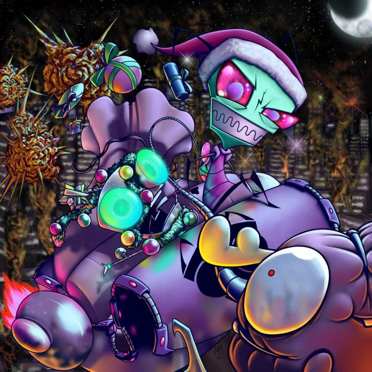Zim's Christmas Fireworks by Madelonetjj