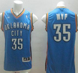 1ea57fce4 ... Oklahoma City Thunder Jersey 35 Kevin Durant MVP Blue Revolution 30  Swingman NBA Jerseys ...