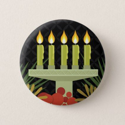 black happy kwanzaa pinback button - christmas buttons holidays merry xmas cyo unique