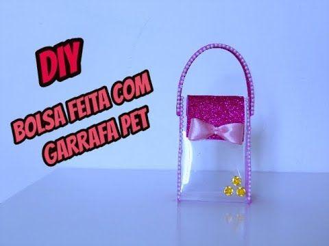 DIY/ Bolsa feita com  garrafa pet, ideia de lembrancinha com garrafa pet.