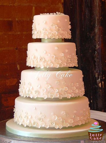 4 Tier Blossoms Wedding Cake