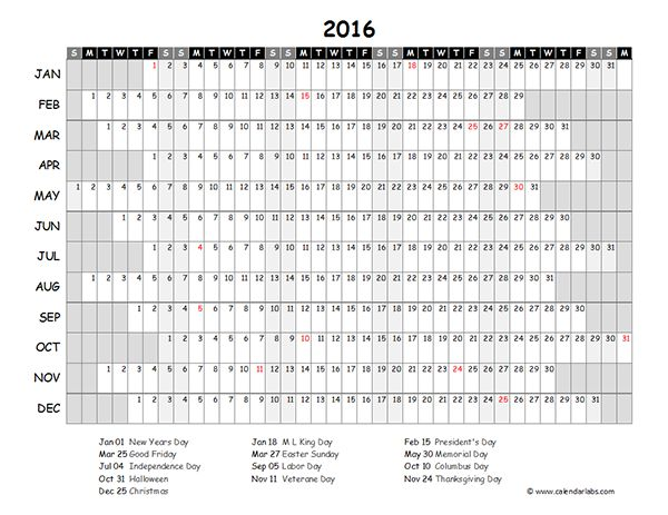 2016 Excel Yearly Calendar 03