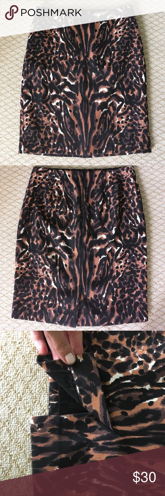 Talbots cheetah skirt Cheetah/wild black white orange pencil skirt, lined, zip back. Perfect condition. Talbots Skirts