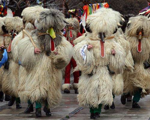 Kukeri is a traditional Bulgarian ritual of Thracian origins, but similar rituals can also be found in Romania, Serbia, Italy and Spain.  The ritual is performed between Christmas and Lent by costumed men, who walk around and dance to scare away the evil spirits, as well as to provide a good harvest, health, fertility, and happiness. Author: Valeriya Krasteva