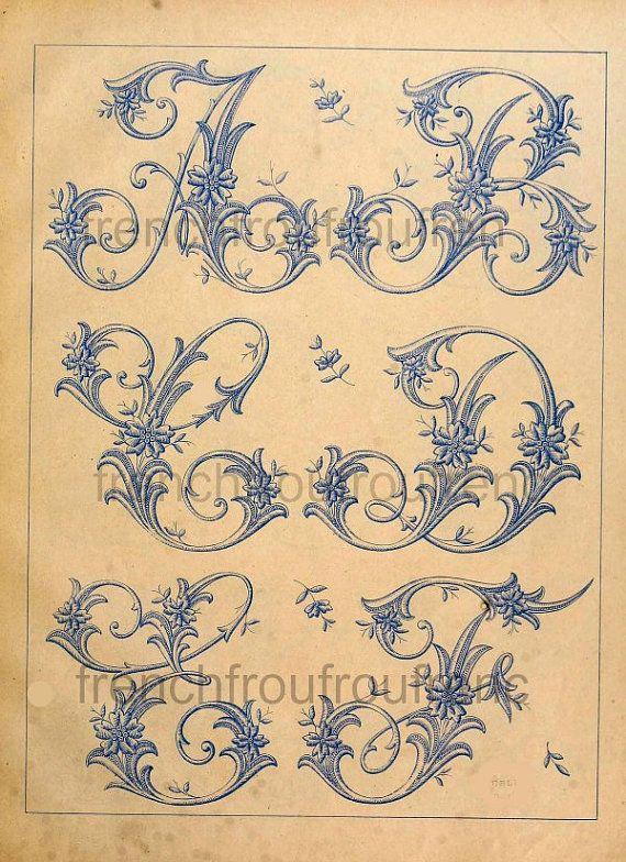 completa antiguo francés victoriano alfabeto patrón digital JPG archivo                                                                                                                                                                                 Más