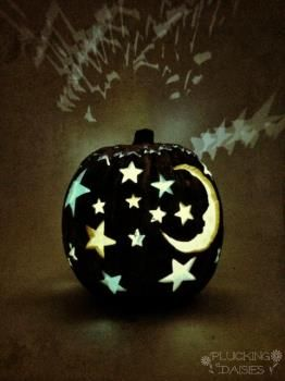 Super cool Moon and Stars Pumpkin #TYP entry in #plaidcrafts 4th Annual Trick Your Pumpkin Halloween craft contest! www.TrickYourPumpkin.com