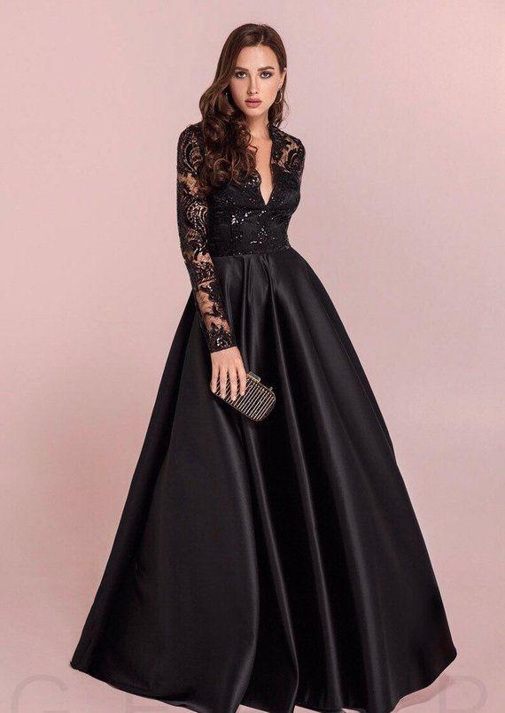 c3ec25dc1644 Black prom beaded dress, Maxi dress, Long sleeves dress, Bridesmaid dress,  Dresses for women, Mediev