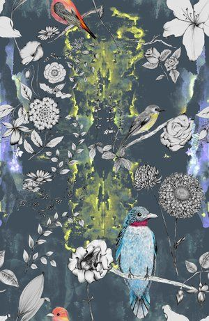 Designer wallpaper for walls, tropical print style with birds and flowers for home interiors.