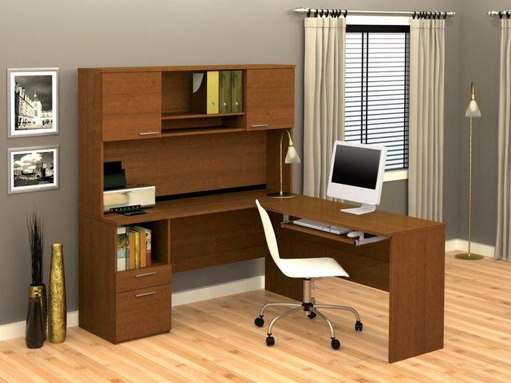 Furniture, Best Corner Desk With Hutch Cool Grey Color ...