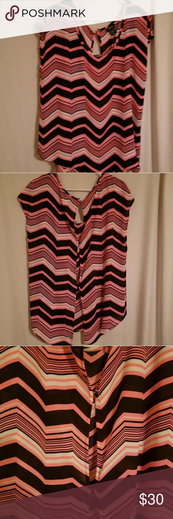 Sheer high low top Black white and pink Torrid brand high low shirt. Sheer with buttons up the back. Can also be worn as a cover up. Torrid size 00 or large in standard sizes torrid Tops Blouses