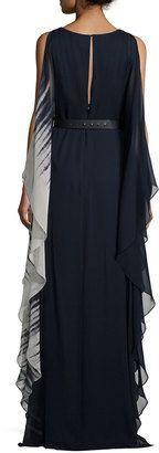 Halston Cold-Shoulder Ombre Caftan Gown