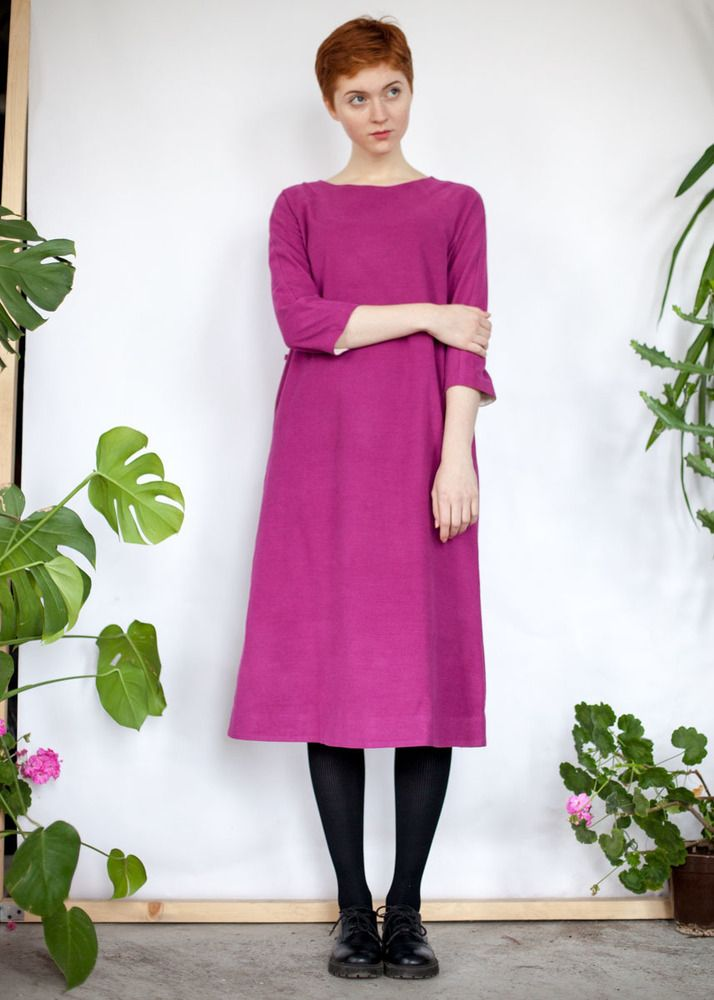 Платье миди цвета фуксии