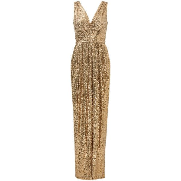 Rental Badgley Mischka Gold Glitz Gown ($90) ❤ liked on Polyvore featuring dresses, gowns, gold, gold sequin dress, v neck dress, sequin dress, badgley mischka dresses and gold sequin evening dress